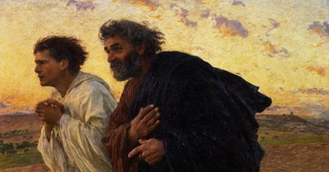 I Discepoli Pietro e Giovanni che Corrono al Sepolcro la Mattina della Resurrezione